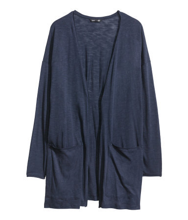 Jersey Cardigan - pattern: plain; length: below the bottom; hip detail: front pockets at hip; neckline: collarless open; style: open front; predominant colour: navy; occasions: casual, creative work; fibres: cotton - mix; fit: loose; sleeve length: long sleeve; sleeve style: standard; texture group: jersey - stretchy/drapey; season: s/s 2014