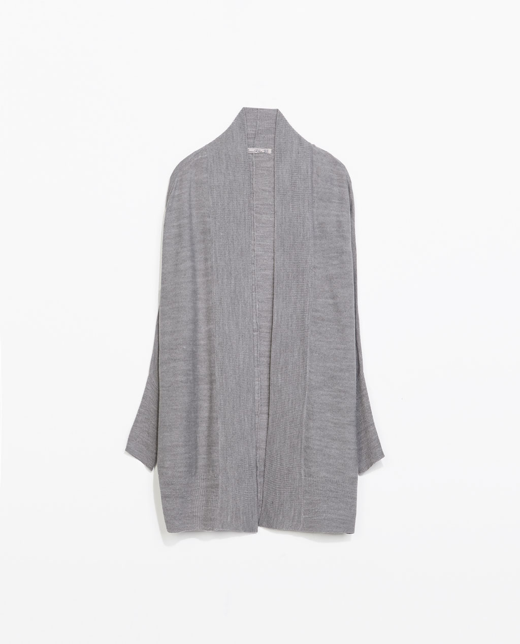 Wraparound Cardigan - sleeve style: dolman/batwing; pattern: plain; neckline: collarless open; style: open front; predominant colour: mid grey; occasions: casual, creative work; fibres: acrylic - 100%; fit: loose; length: mid thigh; sleeve length: long sleeve; texture group: knits/crochet; pattern type: knitted - fine stitch; season: s/s 2014