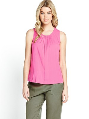 Polly Pleats Blouse, Pink - neckline: round neck; pattern: plain; sleeve style: sleeveless; style: blouse; predominant colour: pink; occasions: casual, evening, holiday, creative work; length: standard; fibres: polyester/polyamide - mix; fit: straight cut; sleeve length: sleeveless; bust detail: tiers/frills/bulky drapes/pleats; pattern type: fabric; texture group: other - light to midweight; trends: hot brights; season: s/s 2014