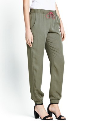 Sante Fe Drape Trousers, Green - pattern: plain; pocket detail: pockets at the sides; waist: mid/regular rise; predominant colour: khaki; occasions: casual, holiday, creative work; length: ankle length; fibres: viscose/rayon - 100%; fit: tapered; pattern type: fabric; texture group: other - light to midweight; style: standard; season: s/s 2014