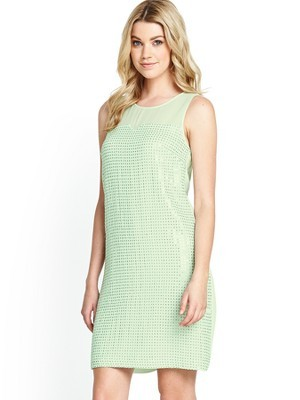 Micro Dot Sequin Shift Dress, White - style: shift; length: mid thigh; neckline: round neck; pattern: plain; sleeve style: sleeveless; predominant colour: lime; occasions: evening, occasion; fit: body skimming; fibres: viscose/rayon - 100%; sleeve length: sleeveless; pattern type: fabric; texture group: other - light to midweight; embellishment: sequins; trends: sorbet shades, summer sparkle; season: s/s 2014