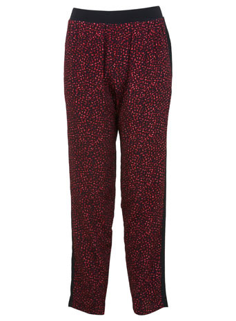 Animal Printed Trouser - length: standard; waist detail: elasticated waist; style: peg leg; waist: mid/regular rise; predominant colour: true red; secondary colour: black; occasions: casual, evening, creative work; fibres: polyester/polyamide - 100%; fit: baggy; pattern type: fabric; pattern: animal print; texture group: other - light to midweight; season: s/s 2014; pattern size: standard (bottom)