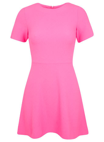 Petites Pink Crepe Dress - length: mid thigh; pattern: plain; predominant colour: hot pink; occasions: casual, evening, occasion; fit: fitted at waist & bust; style: fit & flare; fibres: polyester/polyamide - stretch; neckline: crew; hip detail: subtle/flattering hip detail; sleeve length: short sleeve; sleeve style: standard; texture group: crepes; pattern type: fabric; trends: hot brights; season: s/s 2014
