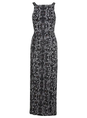 Black Mono Animal Maxi Dress - neckline: high square neck; sleeve style: sleeveless; style: maxi dress; back detail: back revealing; secondary colour: white; predominant colour: black; occasions: casual, evening, holiday; length: floor length; fit: fitted at waist & bust; fibres: viscose/rayon - 100%; sleeve length: sleeveless; pattern type: fabric; pattern size: standard; pattern: animal print; texture group: jersey - stretchy/drapey; trends: world traveller, monochrome; season: s/s 2014