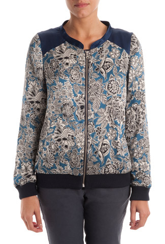 Adonis Blue Passion Flower Bomber Jacket - collar: round collar/collarless; shoulder detail: contrast pattern/fabric at shoulder; style: bomber; occasions: casual, creative work; length: standard; fit: straight cut (boxy); fibres: silk - mix; predominant colour: multicoloured; sleeve length: long sleeve; sleeve style: standard; texture group: silky - light; collar break: high/illusion of break when open; pattern type: fabric; pattern size: standard; pattern: florals; trends: furious florals; season: s/s 2014; multicoloured: multicoloured