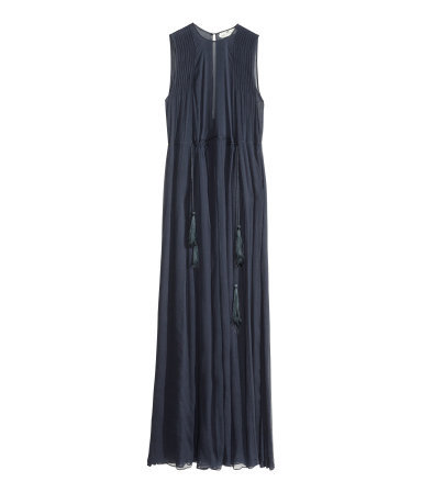 Chiffon Dress - fit: loose; pattern: plain; sleeve style: sleeveless; style: maxi dress; waist detail: belted waist/tie at waist/drawstring; bust detail: ruching/gathering/draping/layers/pintuck pleats at bust; predominant colour: navy; occasions: casual, evening, occasion; length: floor length; fibres: polyester/polyamide - 100%; neckline: crew; hip detail: slits at hip; sleeve length: sleeveless; texture group: sheer fabrics/chiffon/organza etc.; pattern type: fabric; trends: sheer; season: s/s 2014