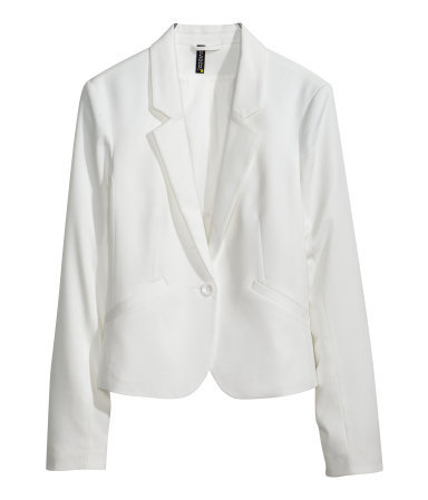 Figure Fit Jacket - pattern: plain; style: single breasted blazer; collar: standard lapel/rever collar; predominant colour: white; occasions: casual, evening, work, occasion, creative work; length: standard; fit: tailored/fitted; fibres: polyester/polyamide - stretch; sleeve length: long sleeve; sleeve style: standard; collar break: low/open; pattern type: fabric; texture group: other - light to midweight; season: s/s 2014