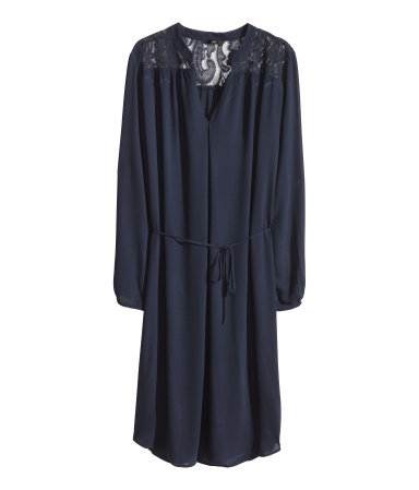 Dress With Lace Yoke - style: tunic; neckline: low v-neck; fit: loose; pattern: plain; shoulder detail: contrast pattern/fabric at shoulder; waist detail: belted waist/tie at waist/drawstring; back detail: contrast pattern/fabric at back; predominant colour: navy; occasions: casual, evening, creative work; length: on the knee; fibres: viscose/rayon - 100%; sleeve length: long sleeve; sleeve style: standard; texture group: sheer fabrics/chiffon/organza etc.; pattern type: fabric; embellishment: lace; trends: lace; season: s/s 2014
