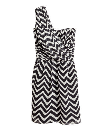Chiffon Dress - length: mid thigh; pattern: horizontal stripes; sleeve style: sleeveless; style: asymmetric (top); neckline: asymmetric; bust detail: subtle bust detail; secondary colour: white; predominant colour: black; occasions: evening, occasion, holiday; fit: fitted at waist & bust; fibres: polyester/polyamide - 100%; shoulder detail: asymmetric shoulder; sleeve length: sleeveless; texture group: sheer fabrics/chiffon/organza etc.; pattern type: fabric; pattern size: standard; season: s/s 2014