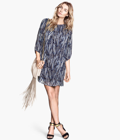 Short Dress - style: tunic; neckline: round neck; fit: loose; pattern: tie dye; secondary colour: white; predominant colour: navy; occasions: casual, holiday; length: just above the knee; fibres: polyester/polyamide - 100%; sleeve length: 3/4 length; sleeve style: standard; texture group: sheer fabrics/chiffon/organza etc.; pattern type: fabric; pattern size: standard; trends: art-party prints; season: s/s 2014