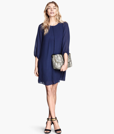 Short Dress - style: smock; length: mid thigh; neckline: round neck; fit: loose; pattern: plain; sleeve style: balloon; predominant colour: navy; occasions: casual, evening, occasion; fibres: polyester/polyamide - 100%; hip detail: soft pleats at hip/draping at hip/flared at hip; sleeve length: 3/4 length; texture group: sheer fabrics/chiffon/organza etc.; pattern type: fabric; season: s/s 2014