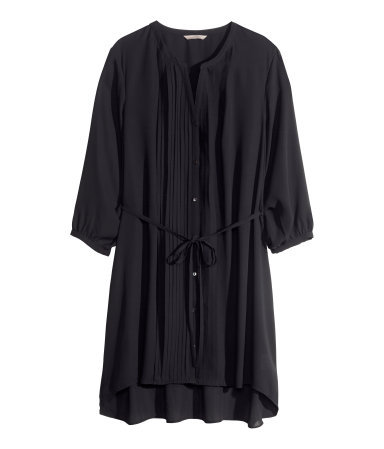 + Tunic - neckline: round neck; pattern: plain; style: tunic; waist detail: belted waist/tie at waist/drawstring; bust detail: ruching/gathering/draping/layers/pintuck pleats at bust; predominant colour: black; occasions: casual, evening, creative work; fibres: cotton - mix; fit: loose; length: mid thigh; back detail: longer hem at back than at front; sleeve length: 3/4 length; sleeve style: standard; pattern type: fabric; texture group: other - light to midweight; trends: powerful pleats, sheer; season: s/s 2014