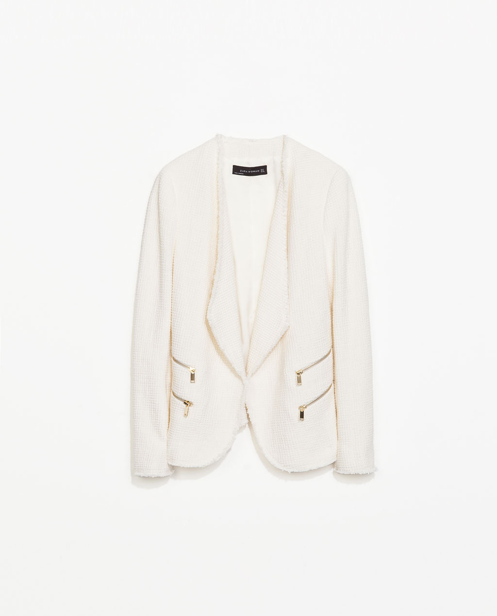 Structured Jacket With Zips - pattern: plain; style: single breasted blazer; collar: shawl/waterfall; predominant colour: ivory/cream; secondary colour: gold; occasions: casual, evening, creative work; length: standard; fit: tailored/fitted; fibres: cotton - stretch; sleeve length: long sleeve; sleeve style: standard; collar break: low/open; pattern type: fabric; texture group: tweed - light/midweight; season: s/s 2014