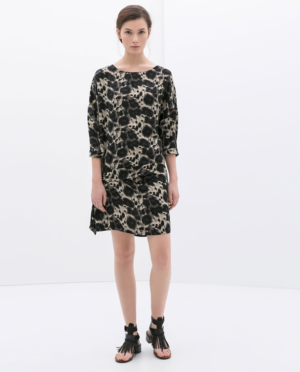 Printed Dress With Knotted Waistband - style: smock; length: mid thigh; neckline: slash/boat neckline; fit: loose; secondary colour: stone; predominant colour: black; occasions: casual, evening, holiday; fibres: polyester/polyamide - 100%; sleeve length: 3/4 length; sleeve style: standard; pattern type: fabric; pattern size: big & busy; pattern: patterned/print; texture group: other - light to midweight; season: s/s 2014