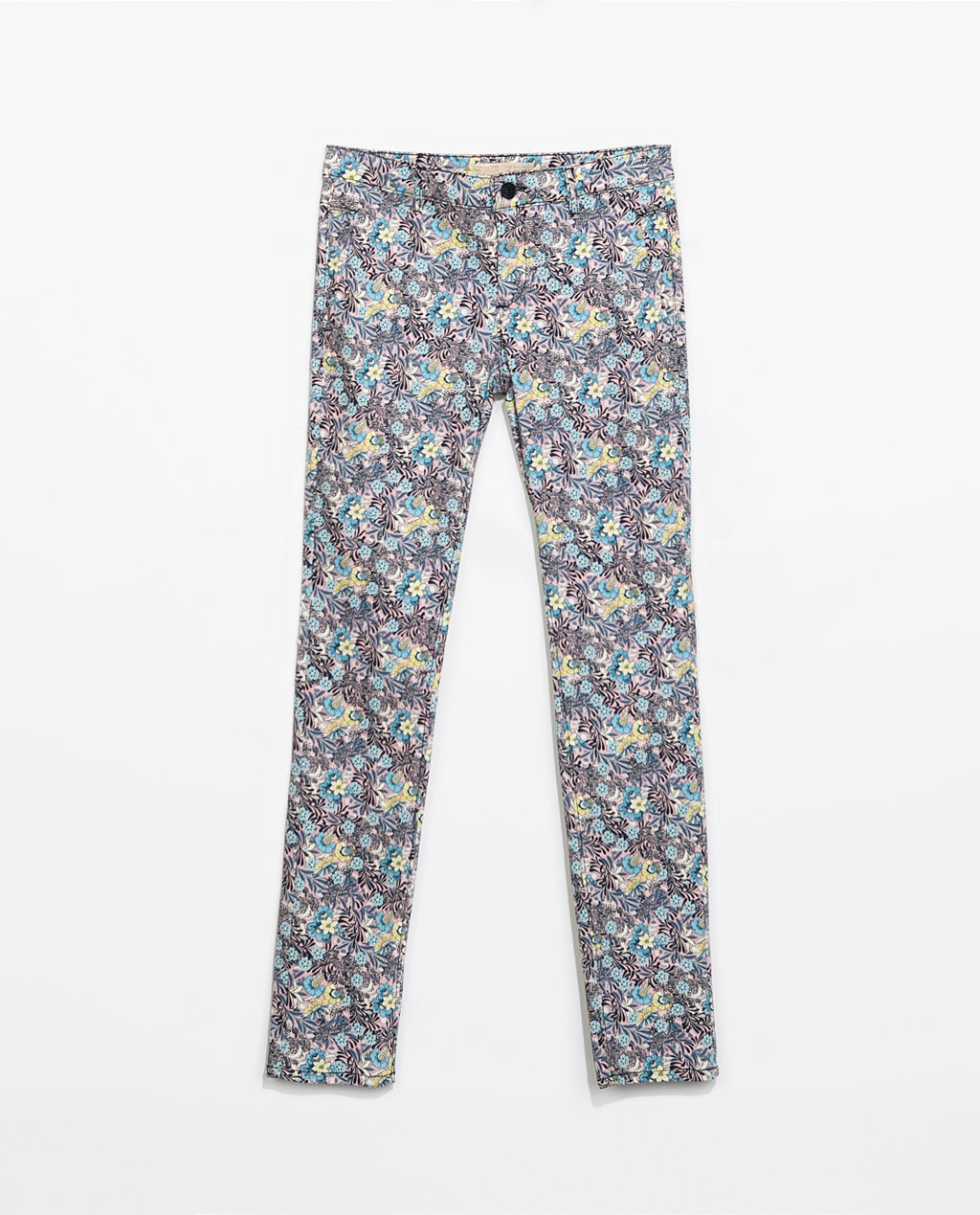 5 Pocket Printed Trousers - length: standard; waist: mid/regular rise; occasions: casual, evening, creative work; fibres: cotton - stretch; predominant colour: multicoloured; texture group: cotton feel fabrics; fit: slim leg; pattern type: fabric; pattern: florals; style: standard; trends: furious florals; season: s/s 2014; pattern size: standard (bottom); multicoloured: multicoloured