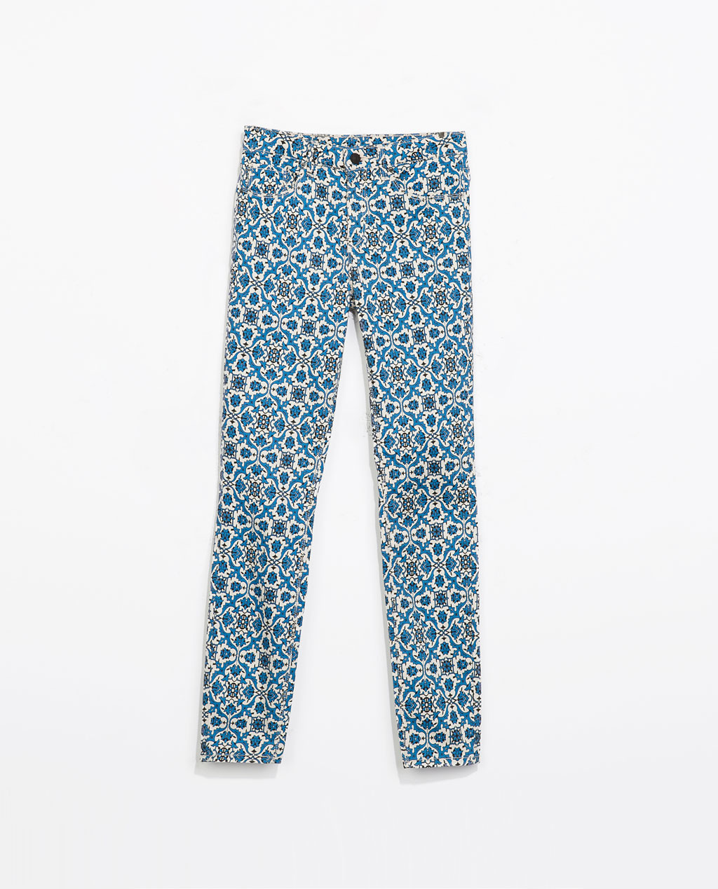 Printed Trousers - length: standard; waist: low rise; pocket detail: traditional 5 pocket; secondary colour: white; predominant colour: diva blue; occasions: casual, evening, creative work; fibres: cotton - stretch; fit: skinny/tight leg; pattern type: fabric; pattern: patterned/print; texture group: other - light to midweight; style: standard; season: s/s 2014; pattern size: big & busy (bottom)