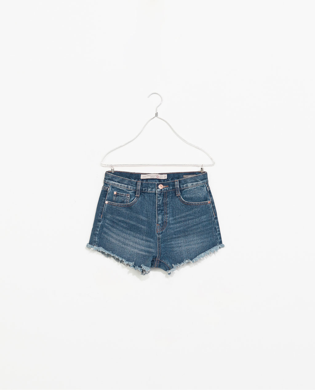 High Waisted Denim Shorts - pattern: plain; waist: high rise; pocket detail: traditional 5 pocket; predominant colour: denim; occasions: casual, holiday; fibres: cotton - 100%; texture group: denim; pattern type: fabric; season: s/s 2014; style: denim; length: short shorts; fit: slim leg