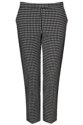 Tall Gingham Cigarette Trousers - pattern: checked/gingham; waist: mid/regular rise; secondary colour: white; predominant colour: black; length: ankle length; fibres: cotton - 100%; fit: slim leg; pattern type: fabric; texture group: woven light midweight; style: standard; occasions: creative work; season: s/s 2014; trends: monochrome; pattern size: standard (bottom)