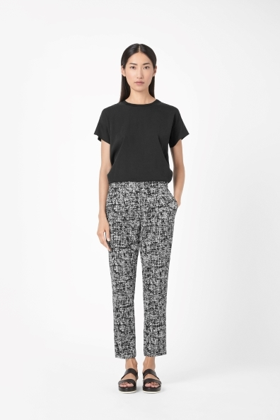 Loose Fit Printed Trousers - pocket detail: pockets at the sides; waist: mid/regular rise; secondary colour: white; predominant colour: black; occasions: casual, evening, holiday, creative work; length: ankle length; fit: tapered; pattern: patterned/print; texture group: woven light midweight; style: standard; season: s/s 2014; pattern size: light/subtle (bottom)