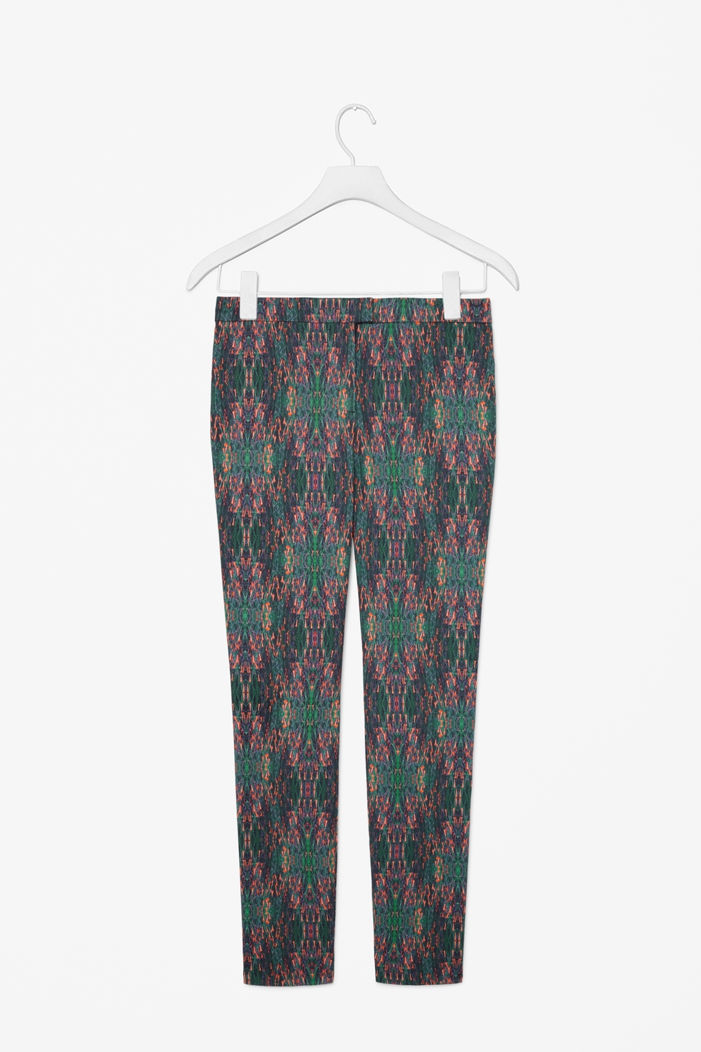 Slim Printed Trousers - waist: mid/regular rise; secondary colour: teal; predominant colour: charcoal; occasions: casual, evening, creative work; length: ankle length; fibres: cotton - stretch; fit: slim leg; pattern type: fabric; pattern: patterned/print; texture group: other - light to midweight; style: standard; season: s/s 2014; pattern size: big & busy (bottom)