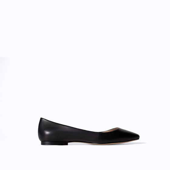 Soft Leather Ballerina Flats - predominant colour: black; occasions: casual, work, creative work; material: leather; heel height: flat; toe: pointed toe; style: ballerinas / pumps; finish: plain; pattern: plain; season: s/s 2014