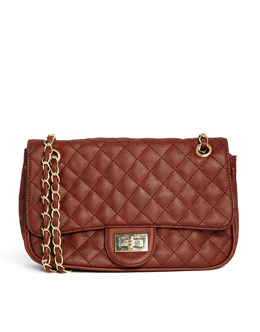 Quilted Bag With Long Chain Strap Brown - predominant colour: tan; occasions: casual, creative work; type of pattern: standard; style: shoulder; length: shoulder (tucks under arm); size: standard; material: faux leather; embellishment: quilted; pattern: plain; finish: plain; season: s/s 2014