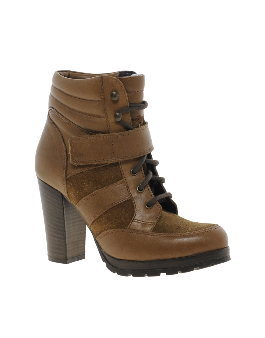 Jalin Heeled Boot Brown - predominant colour: tan; occasions: casual, creative work; material: leather; heel height: high; heel: block; toe: round toe; boot length: ankle boot; style: standard; finish: plain; pattern: plain; shoe detail: platform; season: s/s 2014