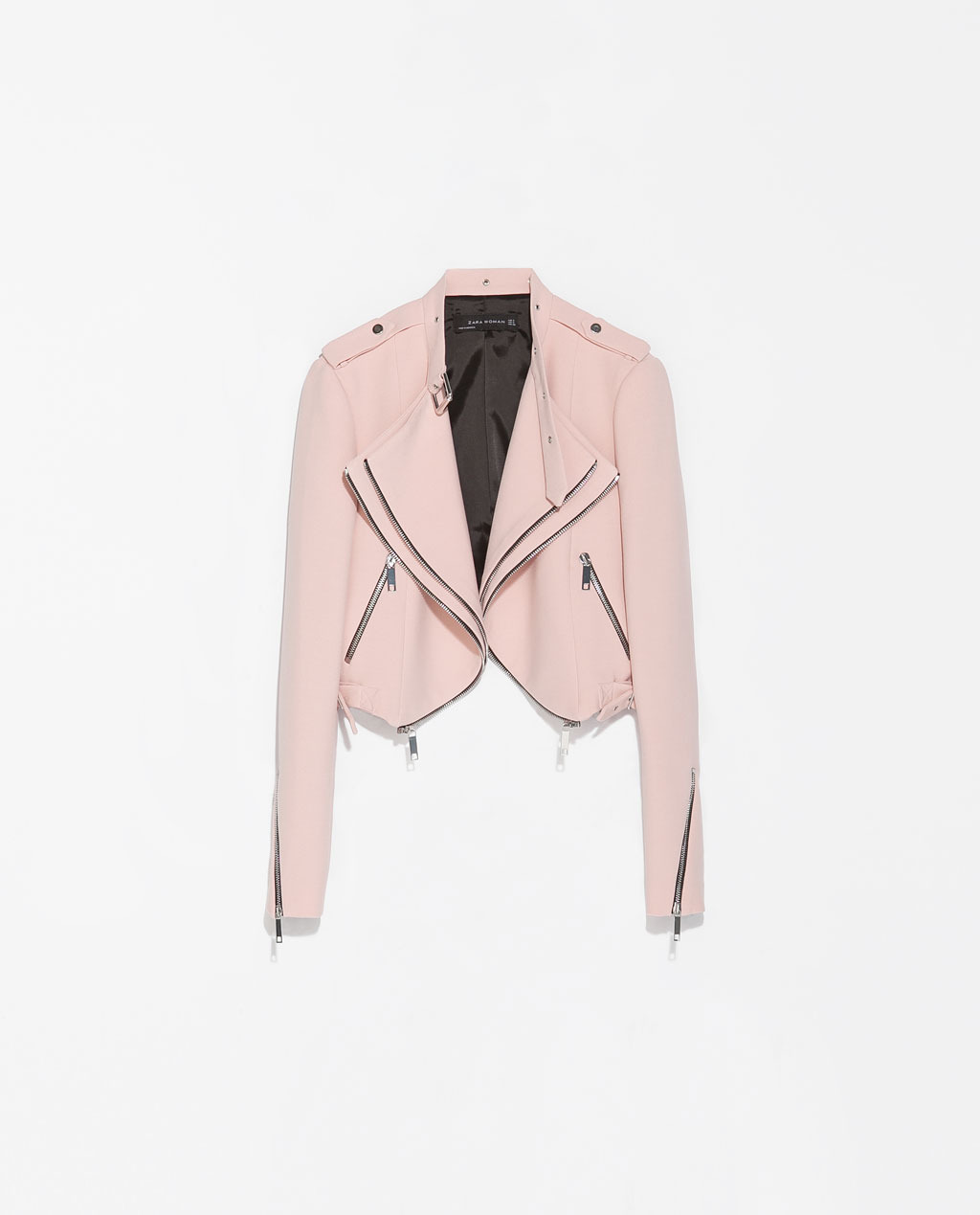Cropped Jacket With Zips - pattern: plain; style: cropped; collar: asymmetric biker; fit: slim fit; predominant colour: blush; occasions: casual, evening, creative work; fibres: polyester/polyamide - stretch; sleeve length: long sleeve; sleeve style: standard; collar break: high/illusion of break when open; pattern type: fabric; texture group: woven light midweight; trends: sorbet shades; season: s/s 2014; length: cropped