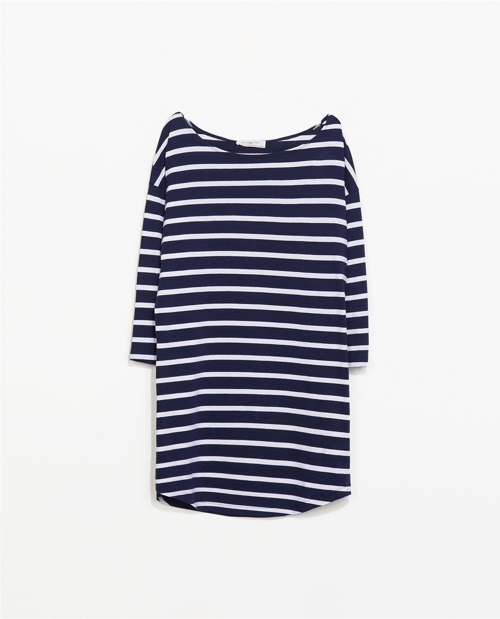 Organic Cotton Striped Dress - style: shift; length: mid thigh; neckline: round neck; fit: loose; pattern: horizontal stripes; predominant colour: navy; occasions: casual, holiday; fibres: cotton - 100%; sleeve length: long sleeve; sleeve style: standard; pattern type: fabric; texture group: jersey - stretchy/drapey; season: s/s 2014