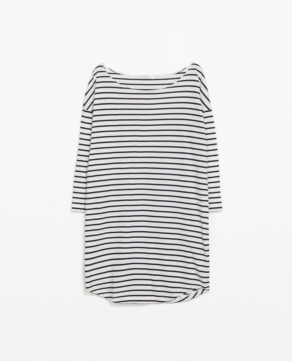 Organic Cotton Striped Dress - style: t-shirt; length: mini; neckline: slash/boat neckline; fit: loose; pattern: horizontal stripes; predominant colour: ivory/cream; secondary colour: navy; occasions: casual, holiday; fibres: cotton - 100%; sleeve length: 3/4 length; sleeve style: standard; texture group: cotton feel fabrics; pattern type: fabric; pattern size: standard; season: s/s 2014; trends: monochrome