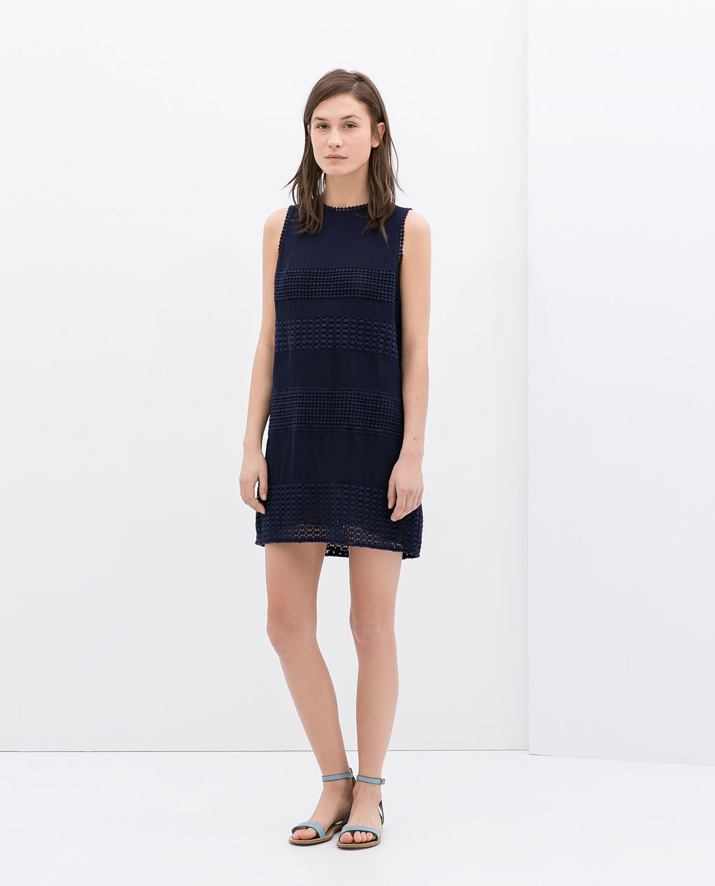 Combined Lace Dress - style: shift; length: mid thigh; pattern: plain; sleeve style: sleeveless; predominant colour: navy; occasions: casual, evening, occasion, holiday, creative work; fit: soft a-line; fibres: viscose/rayon - 100%; neckline: crew; sleeve length: sleeveless; texture group: crepes; pattern type: fabric; trends: lace; season: s/s 2014