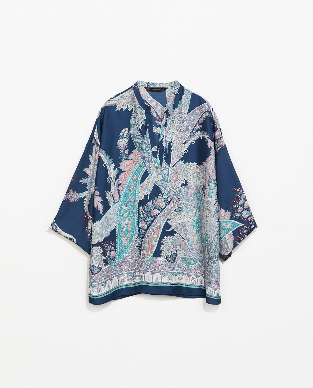 Printed Loose Blouse - sleeve style: kimono; occasions: casual, holiday; length: standard; style: top; neckline: collarstand & mandarin with v-neck; fibres: polyester/polyamide - 100%; fit: loose; back detail: longer hem at back than at front; predominant colour: multicoloured; sleeve length: 3/4 length; texture group: silky - light; pattern type: fabric; pattern size: standard; pattern: patterned/print; trends: world traveller; season: s/s 2014; multicoloured: multicoloured