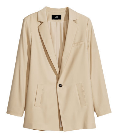 Long Jacket - pattern: plain; style: single breasted blazer; collar: standard lapel/rever collar; predominant colour: nude; occasions: casual, evening, work, creative work; length: standard; fit: tailored/fitted; fibres: polyester/polyamide - mix; sleeve length: long sleeve; sleeve style: standard; collar break: medium; pattern type: fabric; texture group: other - light to midweight; season: s/s 2014