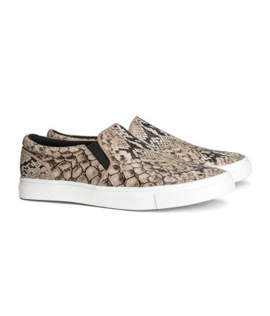 Sneakers - secondary colour: chocolate brown; predominant colour: taupe; occasions: casual, holiday, creative work; material: faux leather; heel height: flat; toe: round toe; style: loafers; finish: plain; pattern: animal print; shoe detail: platform; season: s/s 2014
