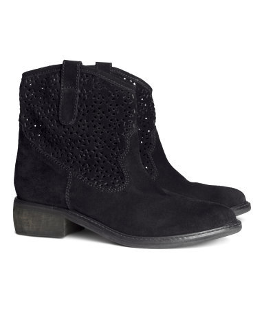 Suede Boots - predominant colour: black; occasions: casual, creative work; material: suede; heel height: flat; heel: standard; toe: round toe; boot length: ankle boot; style: cowboy; finish: plain; pattern: plain; season: s/s 2014