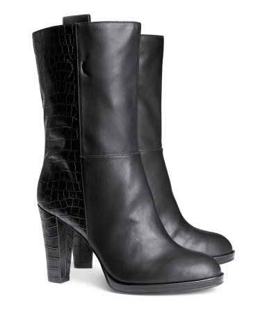 Boots - predominant colour: black; occasions: casual, creative work; material: faux leather; heel height: high; heel: stiletto; toe: round toe; boot length: mid calf; style: standard; finish: plain; pattern: plain; season: s/s 2014