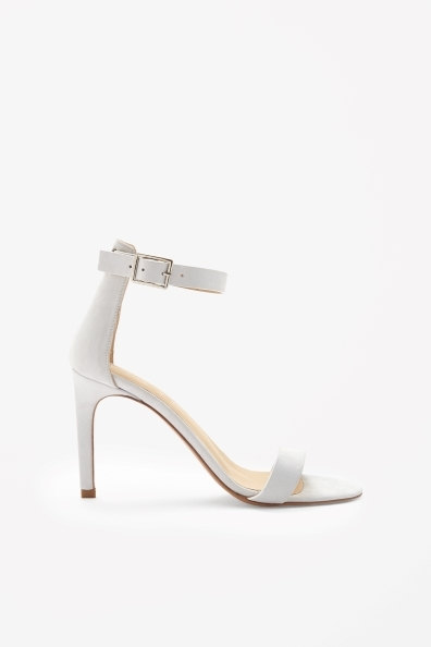Slim Heel Sandals - predominant colour: white; occasions: evening, occasion, holiday; material: leather; heel height: high; ankle detail: ankle strap; heel: stiletto; toe: open toe/peeptoe; style: standard; finish: plain; pattern: plain; season: s/s 2014