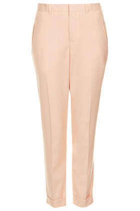 Modern Tailoring Cigarette Trousers - pattern: plain; style: capri; pocket detail: small back pockets, pockets at the sides; waist: high rise; predominant colour: nude; occasions: casual, creative work; length: ankle length; fibres: cotton - 100%; jeans & bottoms detail: turn ups; texture group: cotton feel fabrics; fit: straight leg; pattern type: fabric; trends: sorbet shades; season: s/s 2014