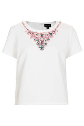 Embellished Necklace Tee - neckline: round neck; pattern: plain; style: t-shirt; predominant colour: white; secondary colour: nude; occasions: casual, evening, creative work; length: standard; fibres: polyester/polyamide - stretch; fit: straight cut; sleeve length: short sleeve; sleeve style: standard; pattern type: fabric; texture group: other - light to midweight; embellishment: jewels/stone; season: s/s 2014; wardrobe: highlight; embellishment location: neck