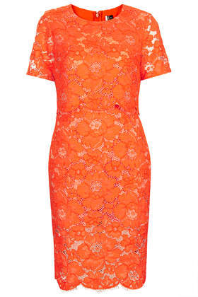 Premium Lace Pencil Dress - style: shift; fit: tailored/fitted; predominant colour: bright orange; occasions: evening, occasion; length: just above the knee; fibres: cotton - mix; neckline: crew; sleeve length: short sleeve; sleeve style: standard; texture group: lace; pattern type: fabric; pattern: patterned/print; trends: hot brights, lace; season: s/s 2014