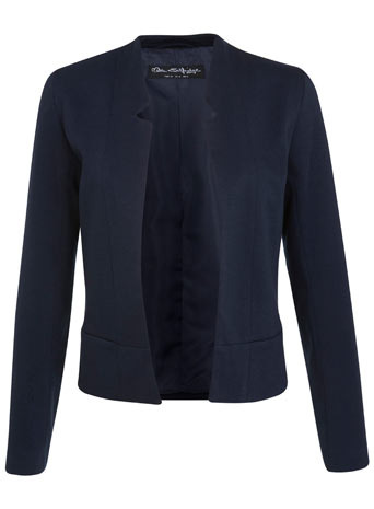 Notch Ponte Jacket - pattern: plain; style: single breasted blazer; collar: round collar/collarless; predominant colour: navy; occasions: casual, evening, work, creative work; length: standard; fit: straight cut (boxy); fibres: polyester/polyamide - mix; sleeve length: long sleeve; sleeve style: standard; collar break: low/open; pattern type: fabric; texture group: other - light to midweight; season: s/s 2014