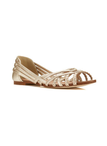 Eden Summer Flat - predominant colour: gold; occasions: casual, holiday, creative work; material: faux leather; heel height: flat; heel: block; toe: open toe/peeptoe; style: strappy; finish: metallic; pattern: plain; trends: shimmery metallics; season: s/s 2014