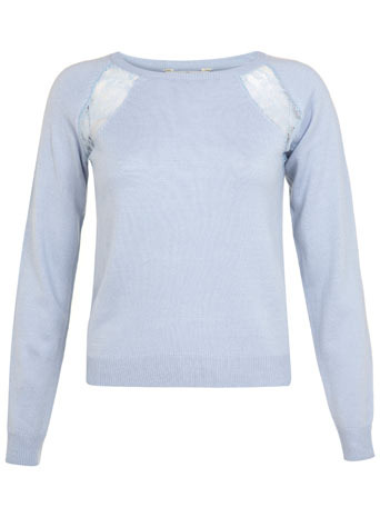 Petites Lace Insert Jumper - neckline: round neck; pattern: plain; style: standard; predominant colour: pale blue; occasions: casual, creative work; length: standard; fibres: acrylic - 100%; fit: standard fit; sleeve length: long sleeve; sleeve style: standard; texture group: knits/crochet; pattern type: knitted - fine stitch; embellishment: lace; season: s/s 2014; wardrobe: highlight; embellishment location: bust
