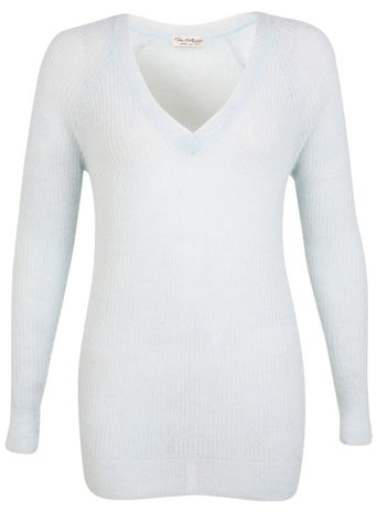 Mint Boyfriend V Neck Jumper - neckline: low v-neck; pattern: plain; length: below the bottom; style: standard; predominant colour: pale blue; occasions: casual, work, creative work; fibres: polyester/polyamide - mix; fit: standard fit; sleeve length: long sleeve; sleeve style: standard; texture group: knits/crochet; pattern type: knitted - fine stitch; season: s/s 2014