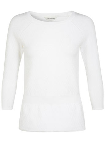 White Peplum Jumper - neckline: round neck; sleeve style: raglan; pattern: plain; style: standard; predominant colour: white; occasions: casual, work, creative work; length: standard; fibres: nylon - mix; fit: slim fit; sleeve length: 3/4 length; texture group: knits/crochet; pattern type: knitted - fine stitch; season: s/s 2014