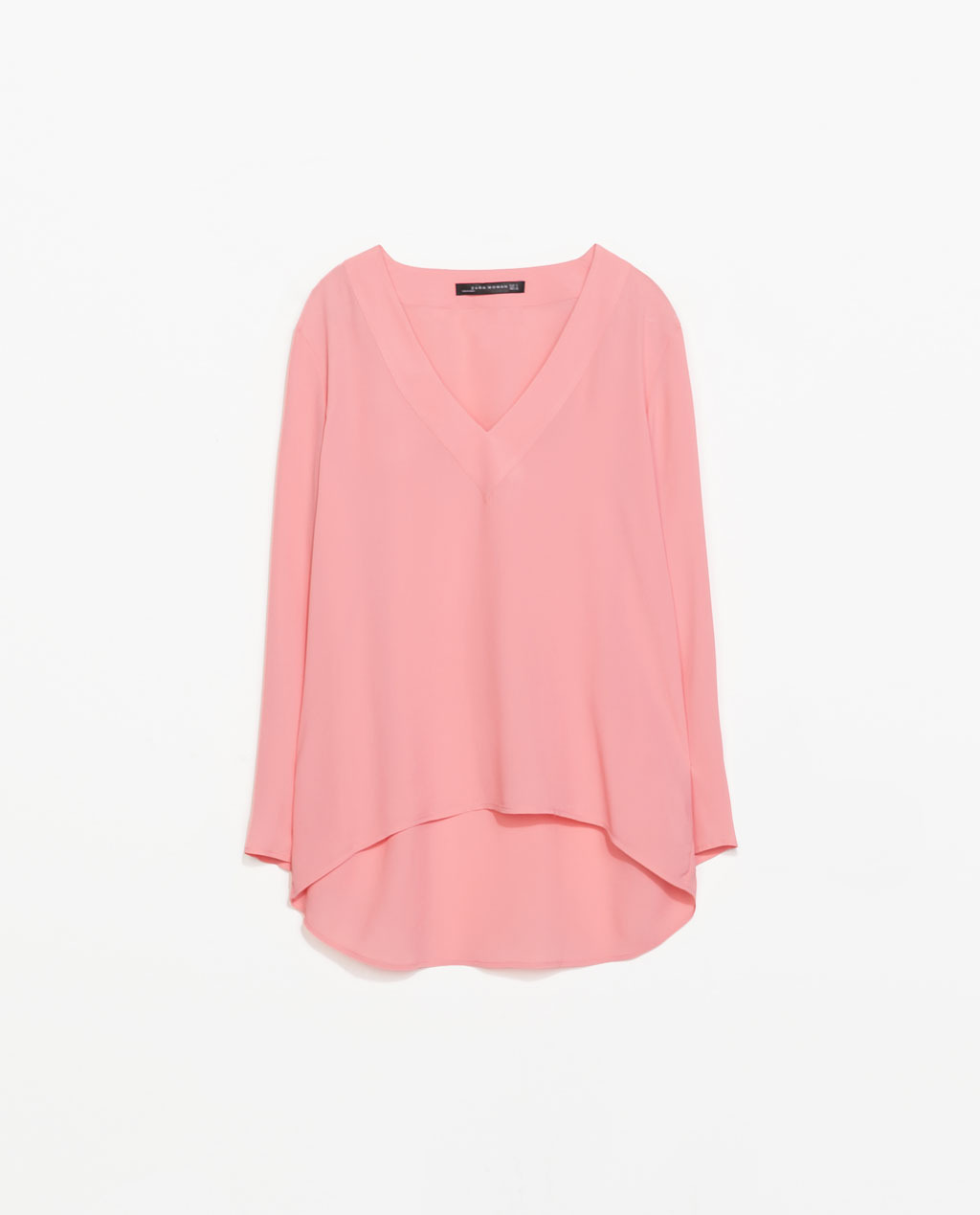 Asymmetric Top - neckline: low v-neck; pattern: plain; length: below the bottom; predominant colour: pink; occasions: casual, evening, work, holiday, creative work; style: top; fibres: viscose/rayon - 100%; fit: loose; sleeve length: long sleeve; sleeve style: standard; texture group: sheer fabrics/chiffon/organza etc.; trends: sorbet shades; season: s/s 2014