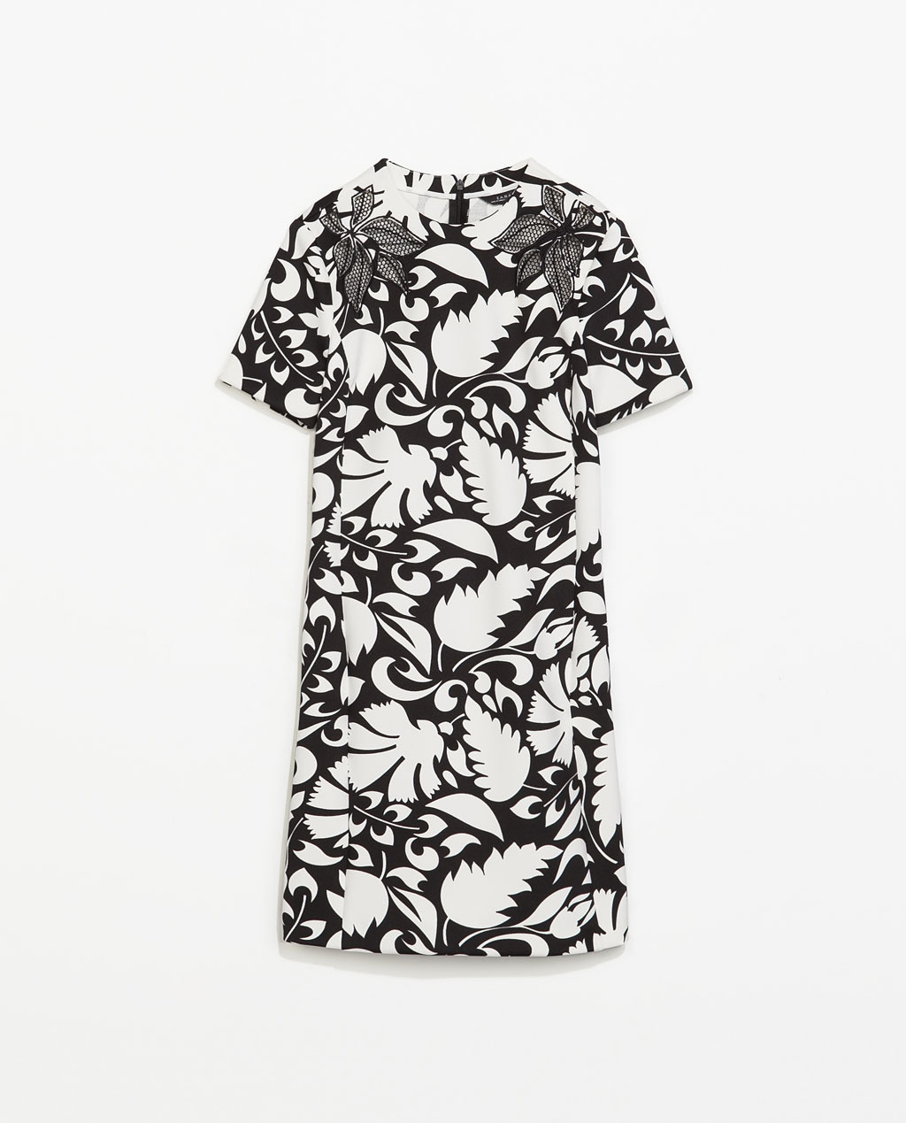 Printed Dress - style: t-shirt; length: mini; secondary colour: white; predominant colour: black; occasions: evening, creative work; fit: body skimming; fibres: polyester/polyamide - stretch; neckline: crew; sleeve length: short sleeve; sleeve style: standard; pattern type: fabric; pattern size: standard; pattern: florals; texture group: other - light to midweight; season: s/s 2014