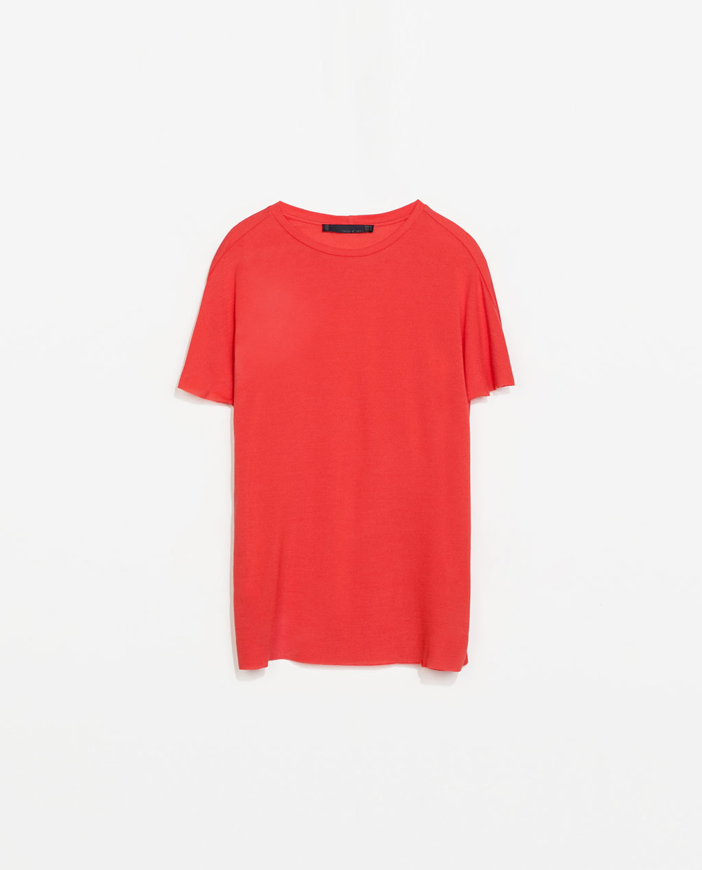 Pique Studio T Shirt - neckline: round neck; pattern: plain; length: below the bottom; style: t-shirt; predominant colour: true red; occasions: casual, holiday, creative work; fibres: silk - mix; fit: straight cut; sleeve length: short sleeve; sleeve style: standard; texture group: silky - light; trends: hot brights; season: s/s 2014
