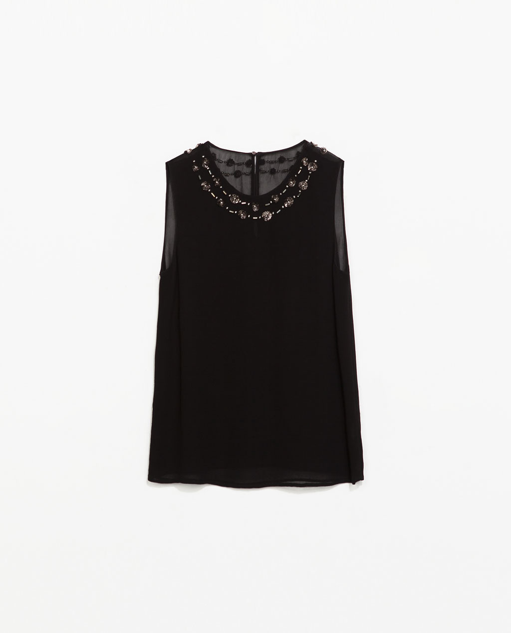 Top With Neck Applique - neckline: round neck; pattern: plain; sleeve style: sleeveless; bust detail: added detail/embellishment at bust; predominant colour: black; occasions: evening, work, occasion, creative work; length: standard; style: top; fibres: viscose/rayon - 100%; fit: straight cut; sleeve length: sleeveless; texture group: sheer fabrics/chiffon/organza etc.; pattern type: fabric; embellishment: beading; trends: summer sparkle; season: s/s 2014