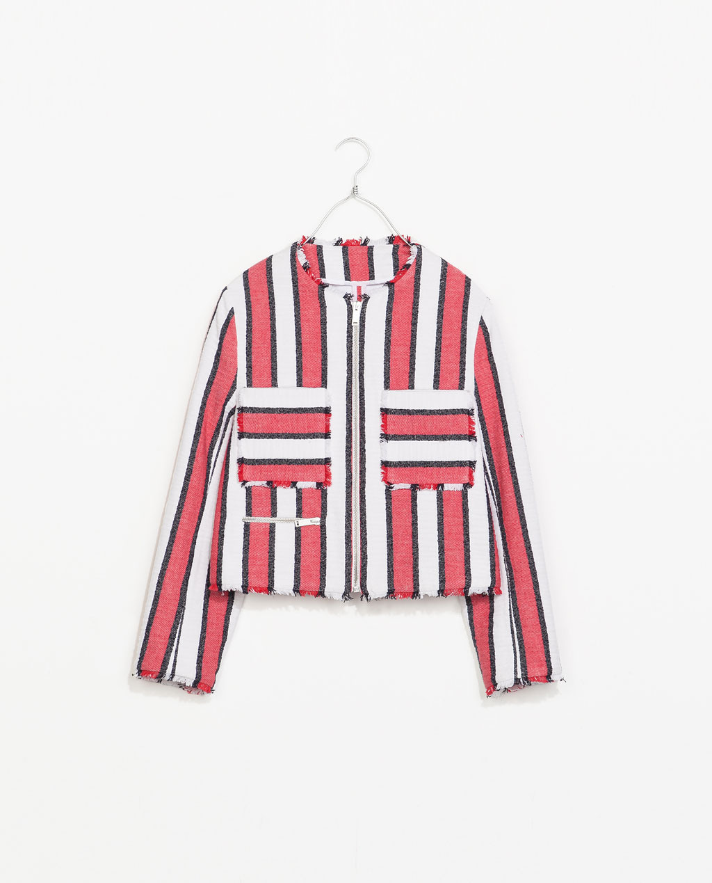 Frayed Striped Jacket - pattern: vertical stripes; style: cropped; collar: round collar/collarless; secondary colour: ivory/cream; predominant colour: true red; occasions: casual, evening, work, occasion, holiday, creative work; length: standard; fit: straight cut (boxy); fibres: cotton - mix; sleeve length: 3/4 length; sleeve style: standard; collar break: high; pattern type: fabric; pattern size: standard; texture group: tweed - light/midweight; season: s/s 2014